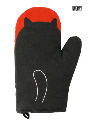 Mitten Cat Man Heat Resistant kitchen Cotton & Polyester Gloves Black