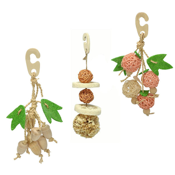 Sanko Natural Bird Chewing Toys Bundle: Acorn, Ball and Fruits (B01)
