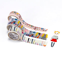 Bande Set of 3 Masking Roll Cat Sticker Masking Tape Classical and Fame White Cat (BDA210)
