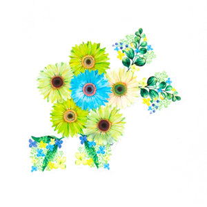 Bande Masking Roll Sticker Gerbera Mini Bouquet Green for Scrapbooking DIY