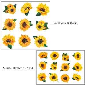 Bande Flowers Stickers Set of 1 Sunflower Stickers (BDA 233) and 1 Mini Sunflower Stickers (BDA 234) Bande Tape, with a Message Card