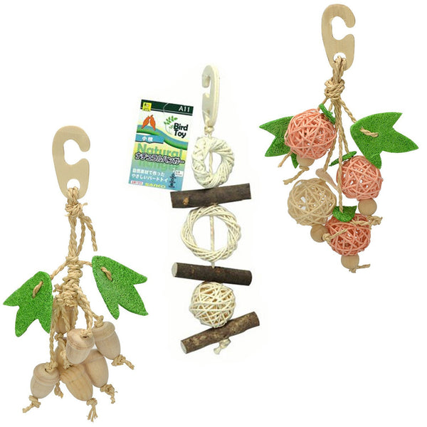 Sanko Natural Bird Chewing Toy 3 Items Bundle: Branches, Ball and Fruits (B04)
