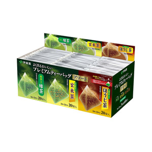 Itoen (Ryokucha, Brown Rice with Green Tea, Houji-cha) - Premium bag Pack of 60 (20 Tea Bag each)