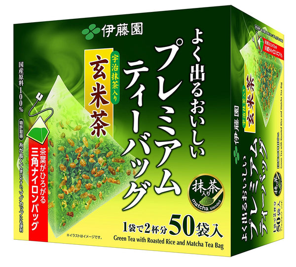 Itoen Genmaicha (Brown Rice Tea) Matcha Blend Premium bag Pack of 50