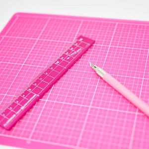 Pink Color Cutting Mat, Precise Cutting Knife and Metal Ruler 3 Items Pink Supply Set for Crafts and Scrapbooking (A5 (5.83 x 8.27 inch))