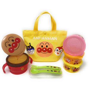 Anpanman Picnic Lunch Box Set for Baby, Spill Proof Snack Cup, 3 Meal Containers, Spoon and Fork with Travel Bag, 6 Items Set