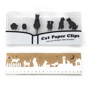 Black Cat 6 Pieces Paper Clips and 20cm White Ruler Set, Gift for Cat Lovers (White Ruler Set)