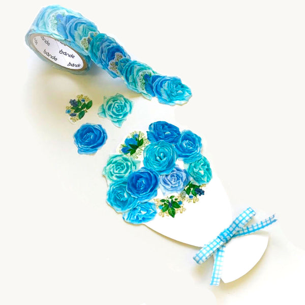 Bande Masking Roll Sticker Masking Tape Classic Blue Rose for Scrapbooking DIY (BDA229)