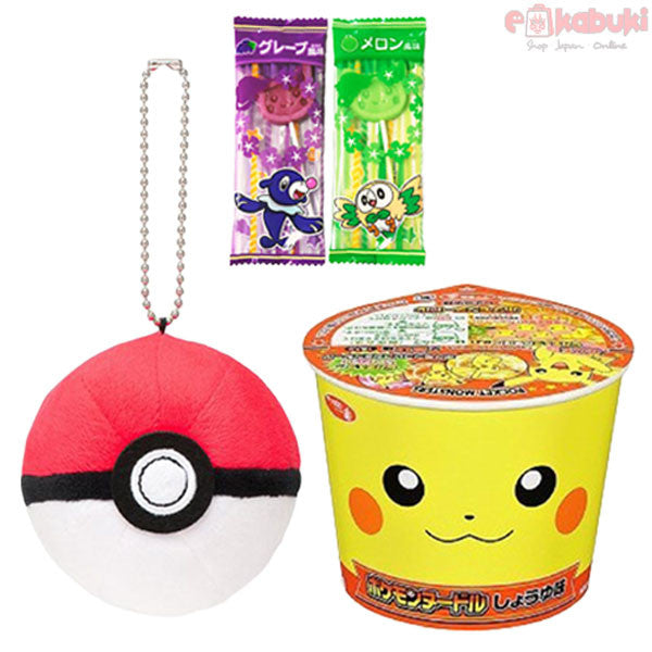 Pokémon Surprise Set: Pokémon Soy sauce Cup Noodle, Monster Ball Mascot, 2 random Pikachu Lollipops