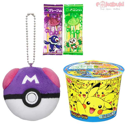 Pokémon Surprise Set: Pokémon Sea Food Cup Noodle, Master Ball Mascot, 2 random Pikachu Lollipops