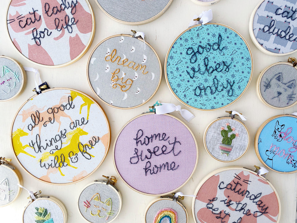 Handmade embroidery hoop art