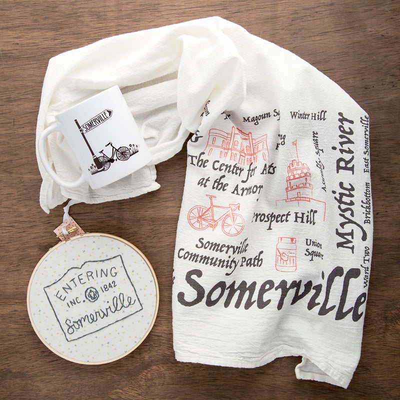 Local Somerville gift products including tea towel and mug