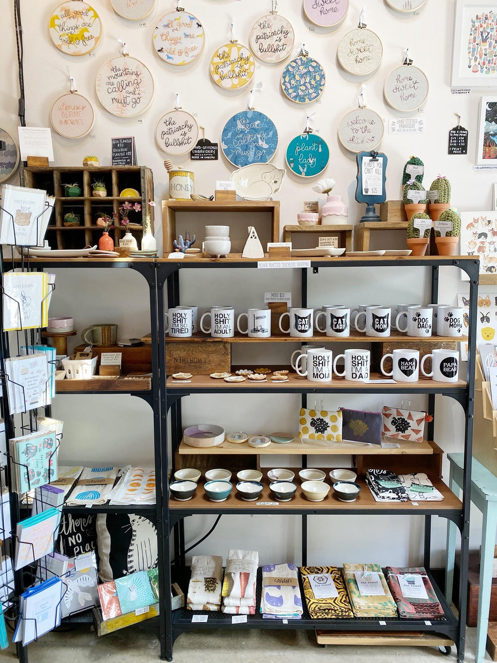 Shelf of handmade goods in gift shop