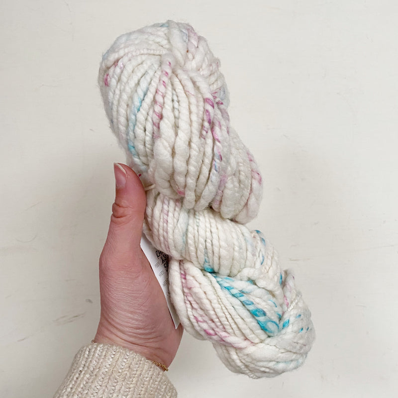 White Hand-Spun Rambouillet and Silk Yarn