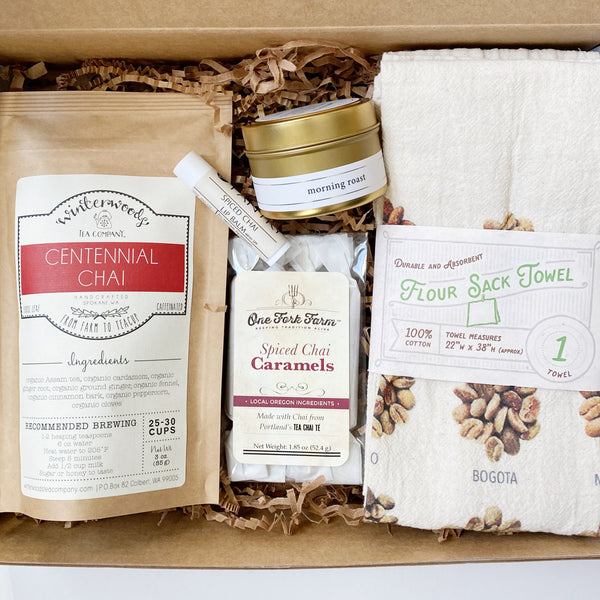 gift set featuring chai and coffee