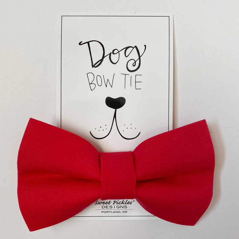 Solid red dog bow tie