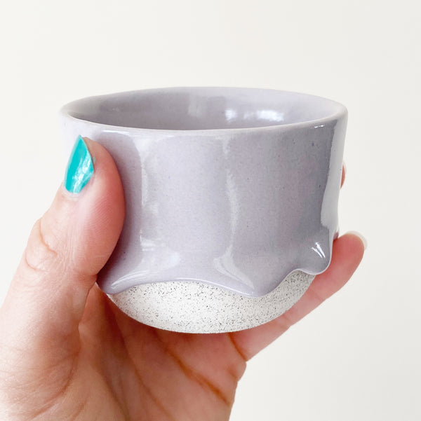 Drippy ceramic tea cup in grey lavender color