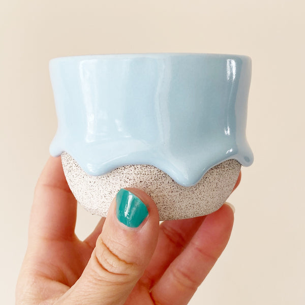sky blue drippy ceramic tea cup