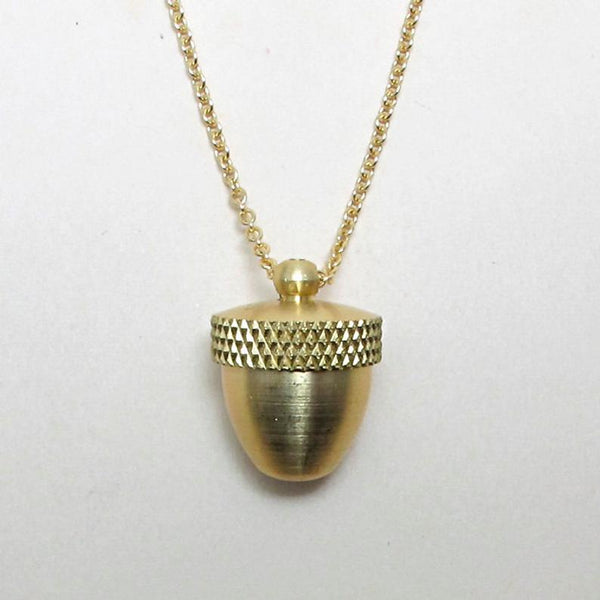 brass acorn locket jewelry