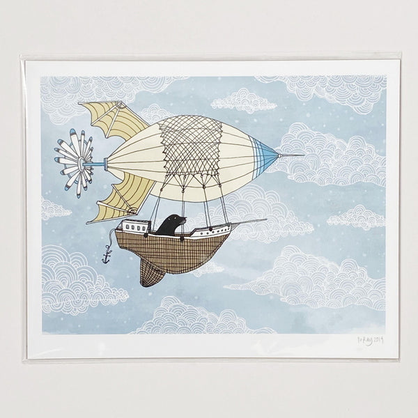 Otter in an airship art print