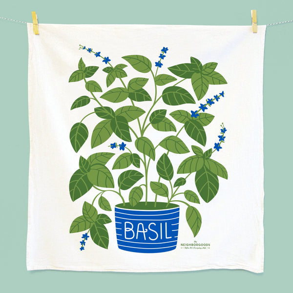 Tea towel with potted basil design