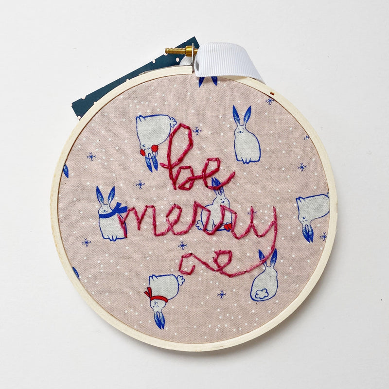 Be Merry Embroidery with Rabbit Fabric