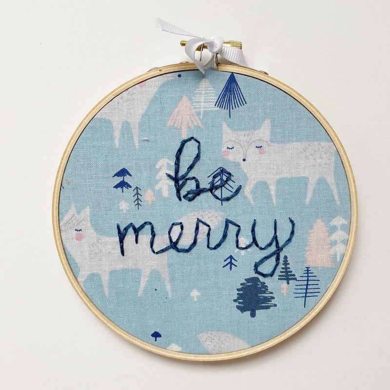 Be Merry Embroidery with White Fox Fabric Pattern