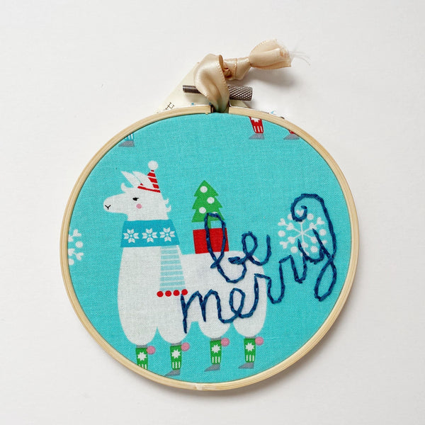 Be Merry Embroidery with Llama fabric