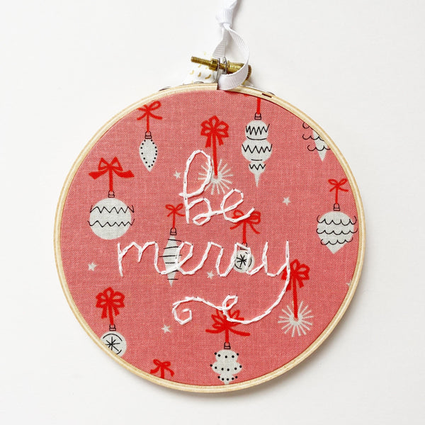 Be Merry Embroidery with retro ornament fabric