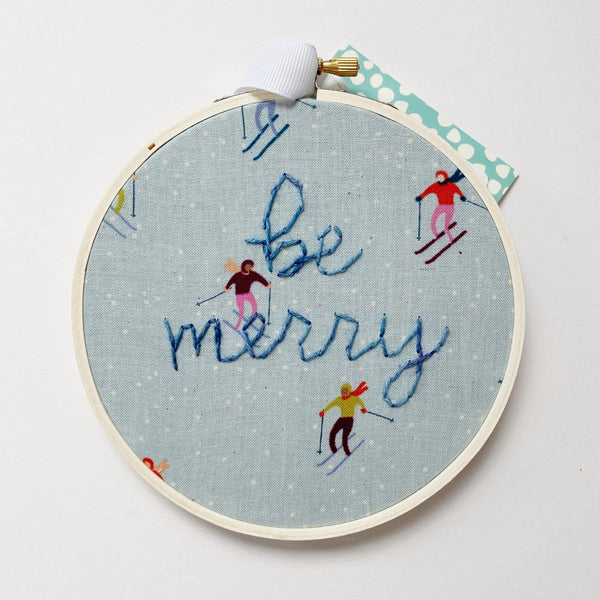 Be Merry Embroidery with Skier fabric pattern