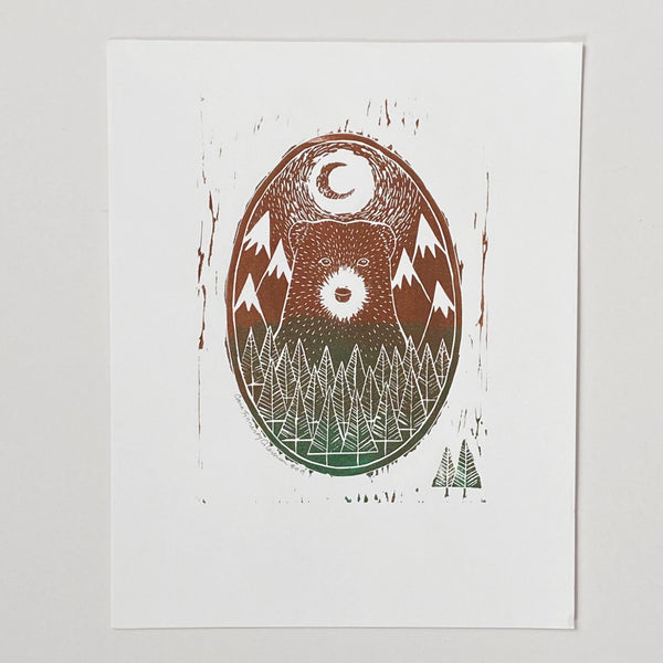 Bear Block Print Art Print