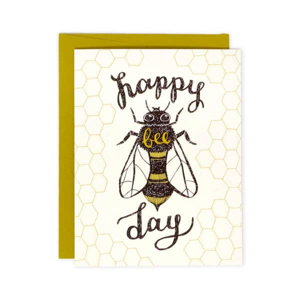 happy bee day greeting card