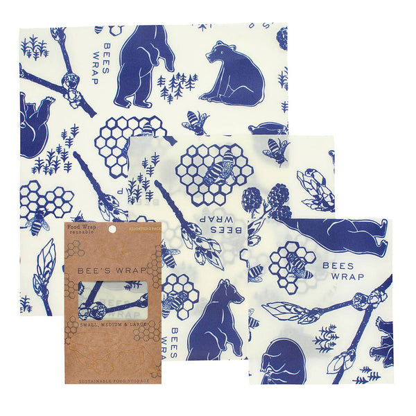 Beeswax Wrap Set of 3 in Bees and Bears Pattern