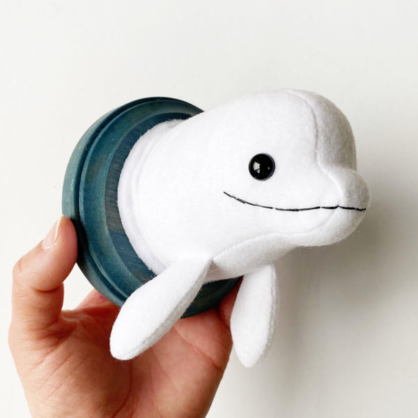 Mini Beluga Whale Faux Taxidermy