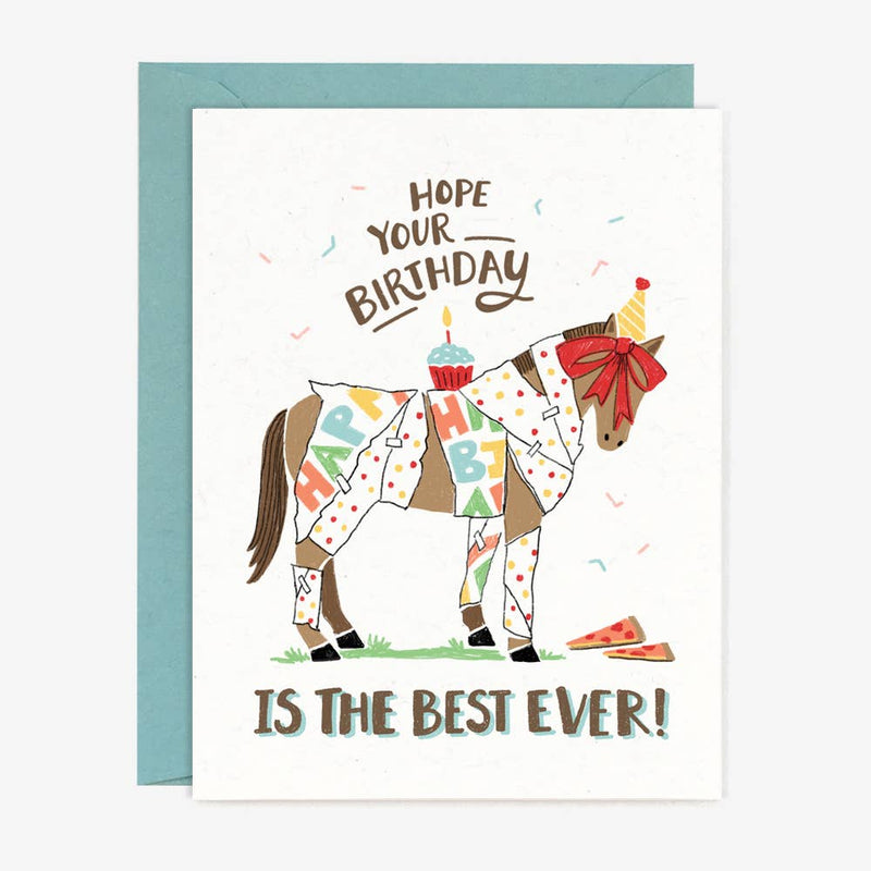 birthday card with horse wrapped in wrapping paper