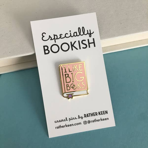 I Like Big Books Pin - pink and gold