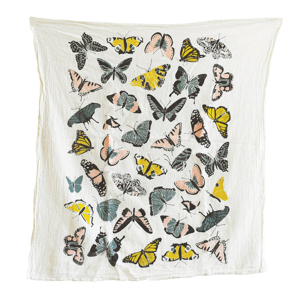 butterflies in pink and yellow tea towel