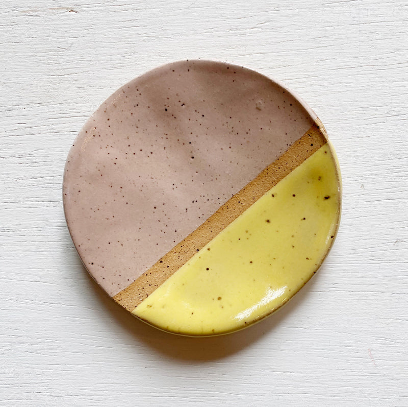Small Ceramic Trinket Dish - Pink and Yellow