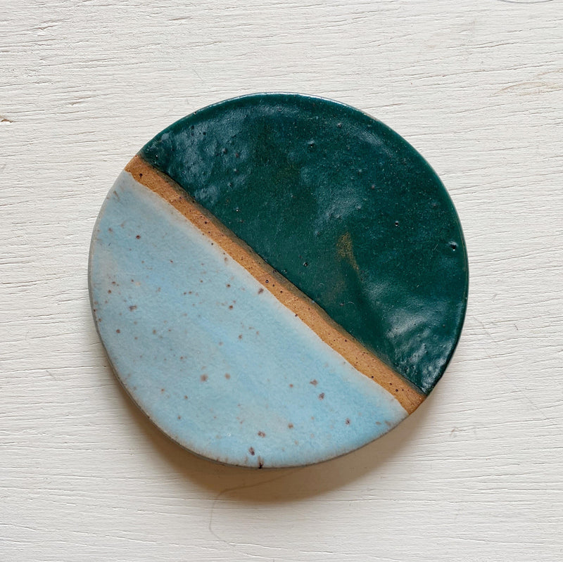 Small Ceramic Trinket Dish - Teal and Sky Blue