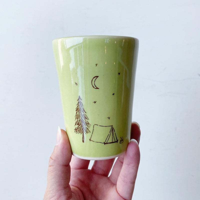 Camp Out Ceramic Cup green