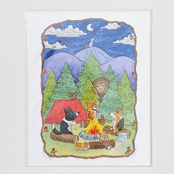 Corgis around a campfire art print