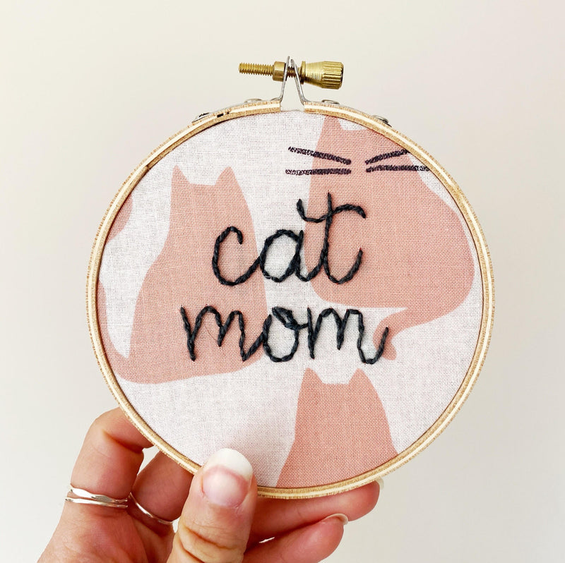Cat Mom Hand-Stitched Hoop Art