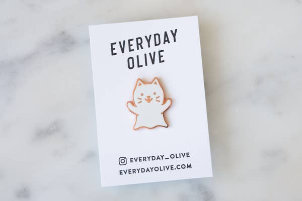 Ghost Cat Pin