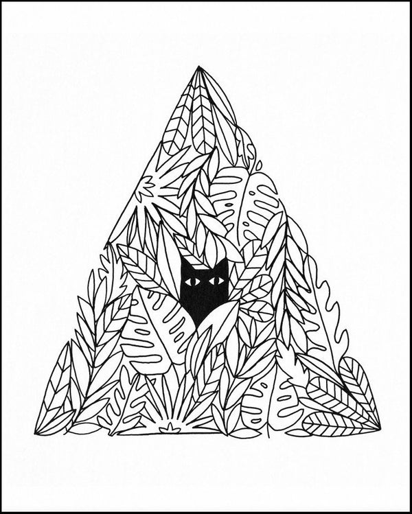Cat Pyramid black and white Art Print