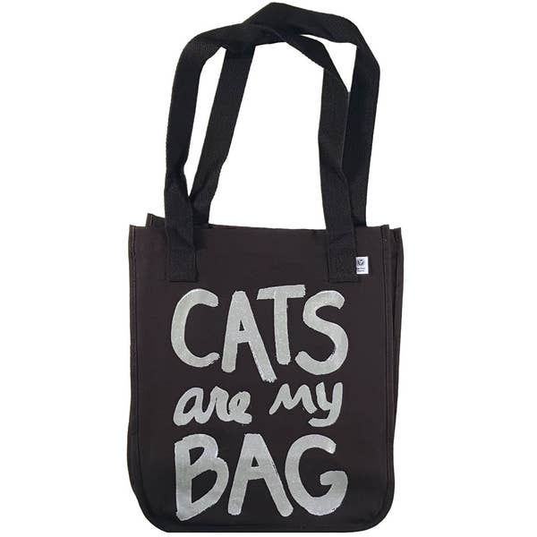 Cats Are My Bag Black Tote Bag