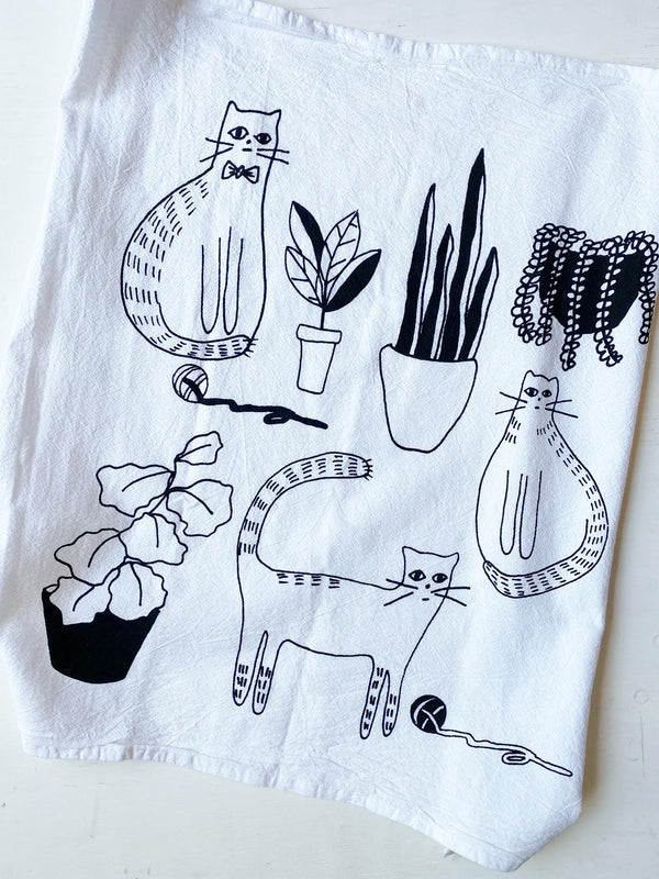 Cats and Plants Tea Towel