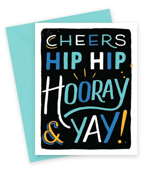 Hip Hip Horray Card text in green, blue & yellow