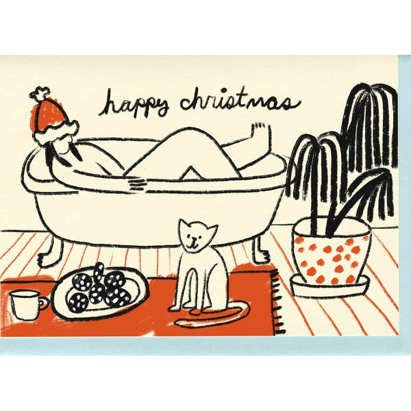 Christmas card with cat and bubble bath
