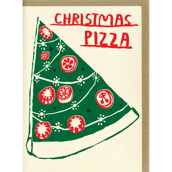 Christmas card with pizza tree