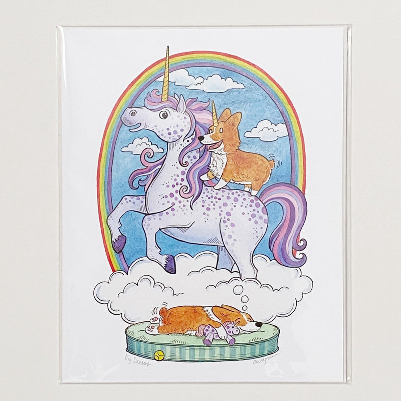Corgi and unicorn art print